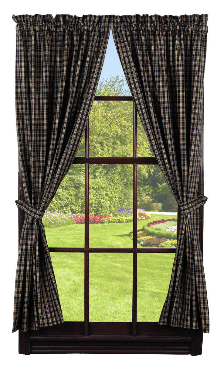 Primary image for Olivia's Heartland country primitive Cambridge Black plaid Panel curtains 72x63