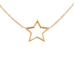 """18K ROSE GOLD NECKLACE 16mm CENTRAL STAR, ROLO OVAL 1mm CHAIN 42cm 16.5"""" image 1"""