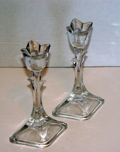 Two Mikasa Crystal Tulip Tapered Candle Holders - $9.00