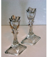 Two Mikasa Crystal Tulip Tapered Candle Holders - $7.99