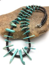 "Navajo Green Turquoise STERLING Silver BONE BEAD NECKLACE 20"" 4360 - $173.75"