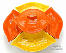 California Pottery L34 Lazy Susan Condiment Chip Dip Server 7 pc Orange ... - $39.95