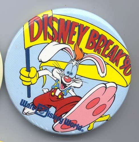 Disney WDW Break 1990 Roger Rabbit button  pin/pins