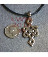 Luck-Bound Celtic Knot Shamrock Pewter Necklace Pendant Amul - $5.85