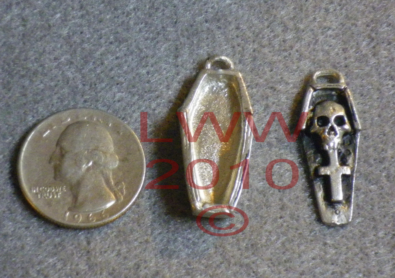 Pewter Voodoo Coffin Amulet Necklace Pendant Charm