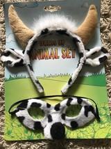 Black & White Spotted Cow Bull Eye Mask & Horns Headband farm costume ma... - €9,09 EUR