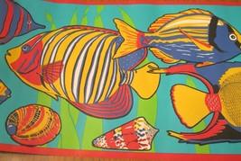 Wallpaper Border Tropical Fish Shells Red Trim Teal Blue Yellow Green EH00150 - $13.86