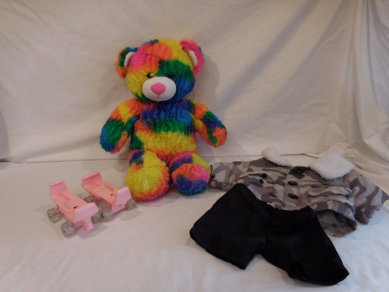BUILD A BEAR Tropicolor Rainbow Tie Dye Bright Neon Plush + Skates + Outfit