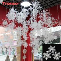 30/60Pcs Christmas Snowflake Christmas Tree Decorations Plastic Snowflake - £1.36 GBP+