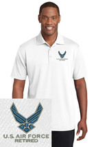 U.S. Air Force Retired Embroidered Polo Sport Golf Shirt Polyester Dry-F... - $24.99