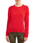 No Boundaries Juniors' Chenille Crew Neck Sweater Size 2XL Red - $24.99