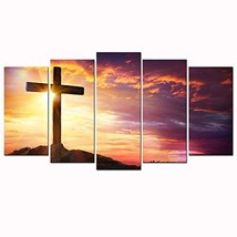 Sea Charm - Christian Crosses at Sunset Canvas Prints Wall Art for Livin... - $93.25