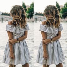 Summer Style Women's Sexy Off shoulder Striped Sundress image 4