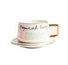 White Gold Tropical Life Mug Ceramic Coffee Milk Tea Cup + Saucer - $44.45