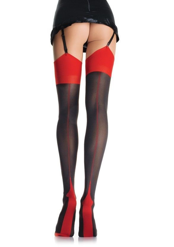 LA-9705 Sexy 2 Tone Cuban Heel Backseam Pin Up Burlesque Thigh High Stockings