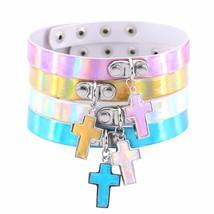 Harujuku Handcrafted Cross Pendant Choker PU Leather Laser Punk Rainbow ... - $9.70
