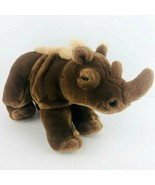 Vintage Aurora World Brown Rhino Plush Toy Stuffed Animal Rhinoceros - $24.74