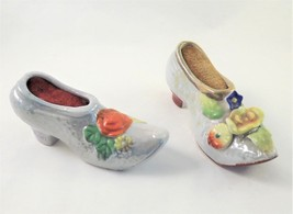 Set of 2 Porcelain Made in Japan Lusterware Niedam Flower Pincushion Shoe - $13.86