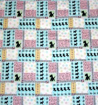 Daisy Kingdom Mini Scottie Patch Dogs Script Patchwork Flannel Fabric Bty Oop - $13.99