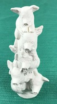 White Ceramic Figurine 5 Pigs Piled Up Totem Pole Stack of Piggies Count... - $24.74