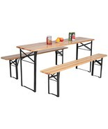 3 Pcs Folding Wooden Picnic Table Bench Set - £167.65 GBP