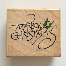 Merry Christmas Rubber Stamp Stampede Holly Leaves Berries Holiday Wood ... - $3.96