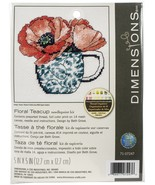 "Dimensions Needlepoint Kit 5""X5""-Floral Teacup Stitched In Thread - $12.25"