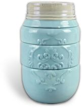 Blue Ceramic Mason Jar Stacking Measuring Cups Set of 4 Primitive Countr... - $28.00