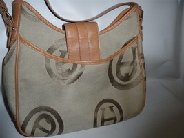 "Etienne Aigner Handbag Purse Signature ""A"" Fabric Saddlebag Style - $19.75"