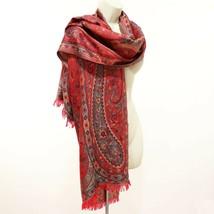 "Pashmina Wrap Scarf Shawl Red Blue Colorful Paisley & Vine Fringed 77"" x... - $8.69"
