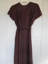 1950s Brown and Black Plaid Wool Womens Wiggle Sheath Dress w/ Belt - Cute! - $34.64