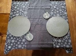 Christmas Glitter Shimmer Metallic Snowflake Silver Table Linen Set for ... - $65.35