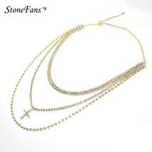 StoneFans Collar Multi Layer Choker Necklace Crystal Rhinestone Cross Ch... - $16.73