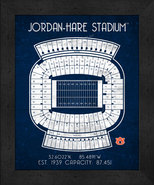 "Auburn Tigers Jordan-Hare ""Retro"" Stadium Seating Chart 13x16 Framed Print  - $39.95"