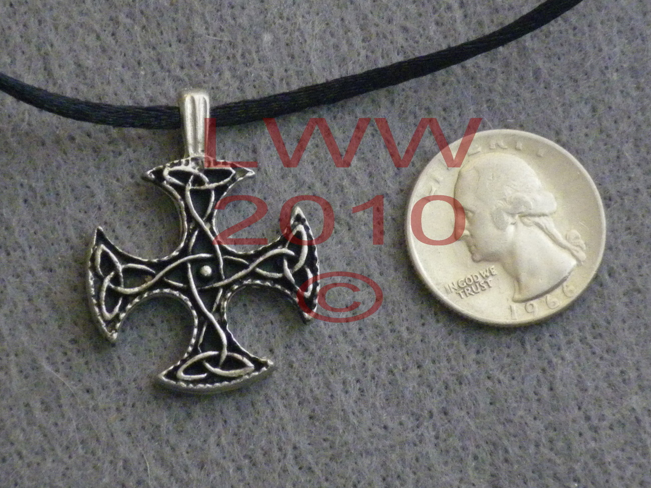 Equal arm triquetra celtic knot cross amulet necklace