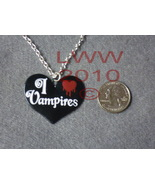 Black Metal Enamel I Love Vampires Heart Necklace Pendant &  - $12.85