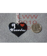 Black Metal Enamel I Love Werewolves Heart Necklace Pendant  - $12.85