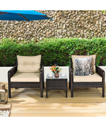 3 Pcs Outdoor Patio Rattan Conversation Set with Seat Cushions-Beige - C... - £334.37 GBP