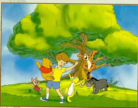 Disney Winnie the Pooh Eeyore Tigger tree house Litho