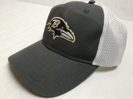 Baltimore Ravens Gray w/ White Mesh Back Hat Adjustable BDA Brand NFL NEW - $15.83