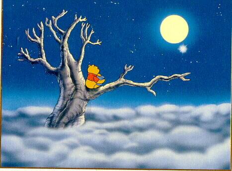 Disney Winnie the Pooh Moonlight Rare Lithograph