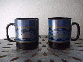 Vintage Set of 2 France Black Milk Glass Coffee Mug Cup Geometrical Pattern - $19.95