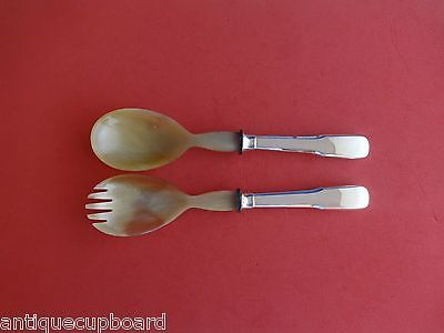 Primary image for Eighteen Ten 1810 by Fina-Italy Sterling Silver Salad Serving Set 2pc w/Bone 9""