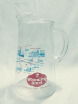 Wheeling Steel Corporation Glass Pitcher Clear Blue Red with Handle and ... - $59.39