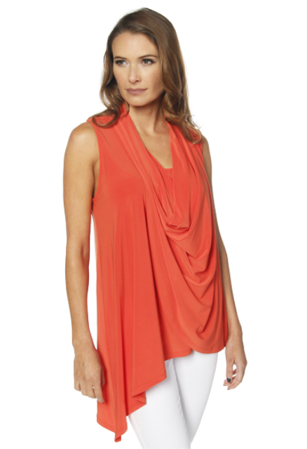 Chic Last Tango Sleeveless Asymmetrical Drape Front Top / Blouse in Tangerine