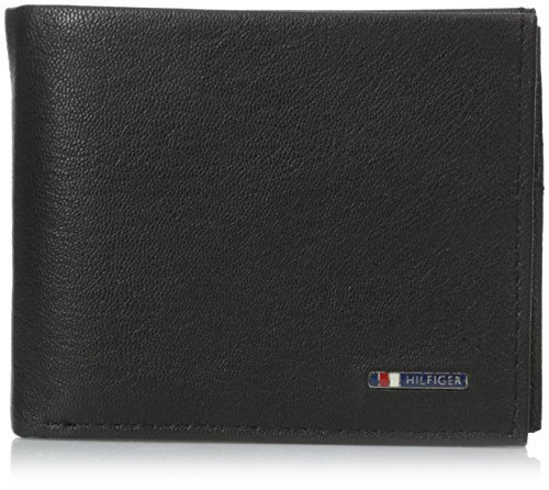 Tommy Hilfiger Men's Leather Passcase Wallet,Lloyd Black