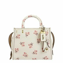 NWT Coach Rogue  Floral Bow Print Bright Leather 26836  Chalk/white - $499.99