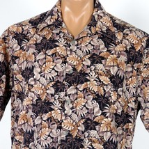 Campia Moda Hawaiian Aloha Shirt Mens Large Brown Monstera Palms Foliage - $18.69