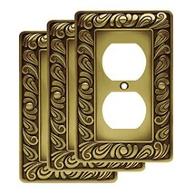 Franklin Brass W10110V-ABT-R Paisley Single Duplex Wall Plate, Tumbled A... - $26.12