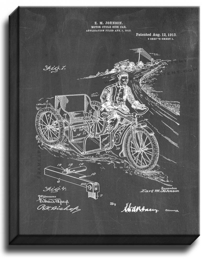Primary image for Motorcycle Side Car Patent Print Chalkboard on Canvas